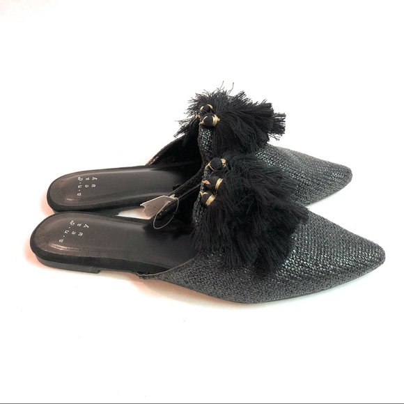 e237537f5f8 A New Day Antoinette slide on black fringe tassel